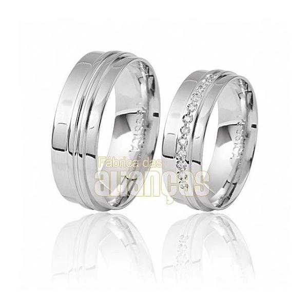 Aliança De Noivado e Casamento Em Ouro Branco 18k 0,750 Fa-284-b - FA-284-B - Fábrica das Alianças