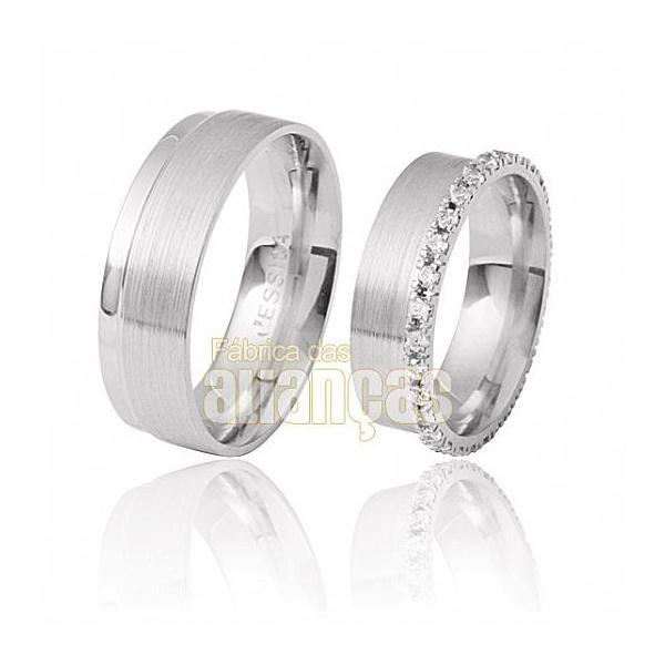 Aliança De Noivado e Casamento Em Ouro Branco 18k 0,750 Fa-285-b