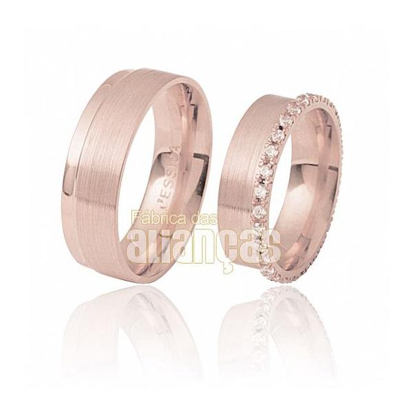 Aliança De Noivado e Casamento Em Ouro Rose 18k 0,750 Fa-285-r