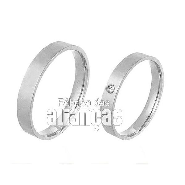 Aliança De Noivado e Casamento Em Ouro Branco 18k 0,750 Fa-293-b