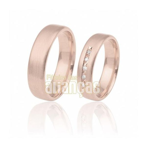 Alianças De Noivado e Casamento Em Ouro Rose 18k 0,750 Fa-294-r