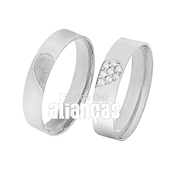 Aliança De Noivado e Casamento Em Ouro Branco 18k 0,750 Fa-295-b