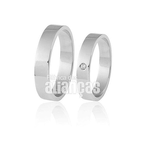 Aliança De Noivado e Casamento Em Ouro Branco 18k 0,750 Fa-297-b