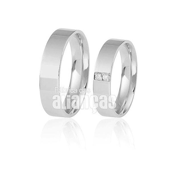 Aliança De Noivado e Casamento Em Ouro Branco 18k 0,750 Fa-298-b