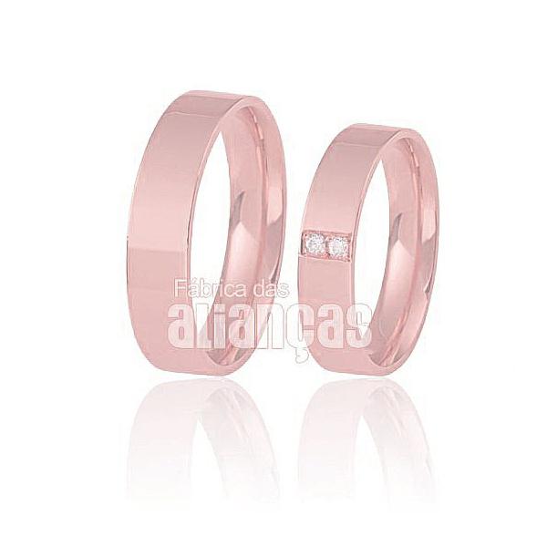 Alianças De Noivado e Casamento Em Ouro Rose 18k 0,750 Fa-298-r