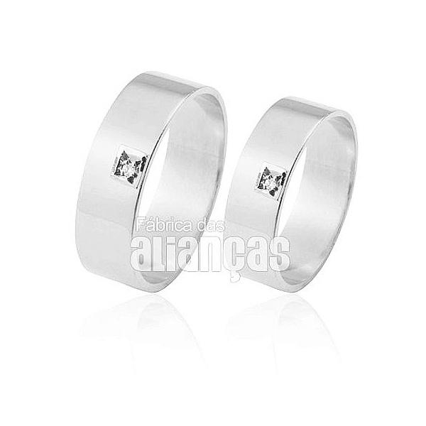 Alianças De Noivado e Casamento Em Ouro Branco 18k 0,750 Fa-306-b