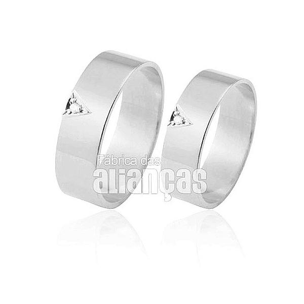 Alianças De Noivado e Casamento Em Ouro Branco 18k 0,750 Fa-307-b