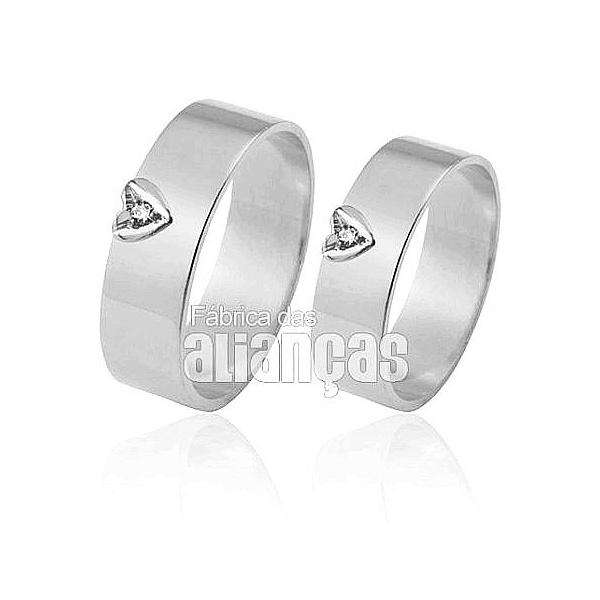 Alianças De Noivado e Casamento Em Ouro Branco 18k 0,750 Fa-308-b