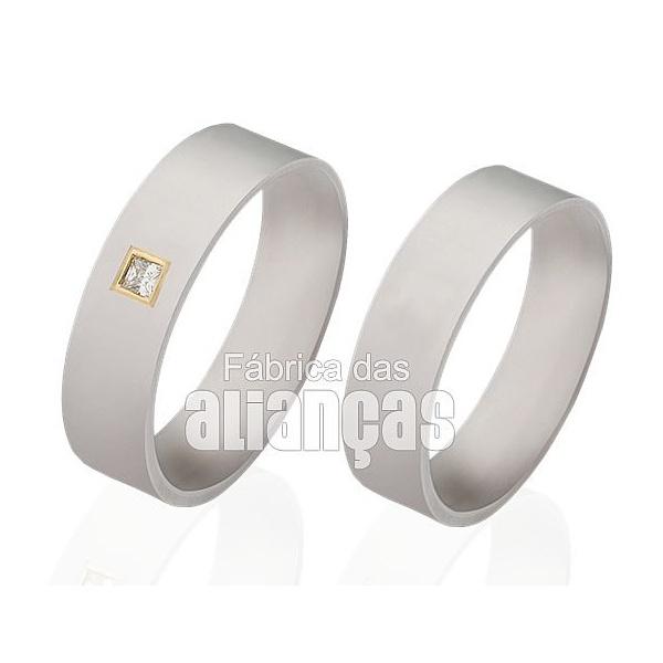 Alianças De Noivado e Casamento Em Ouro Branco 18k 0,750 Fa-312-b