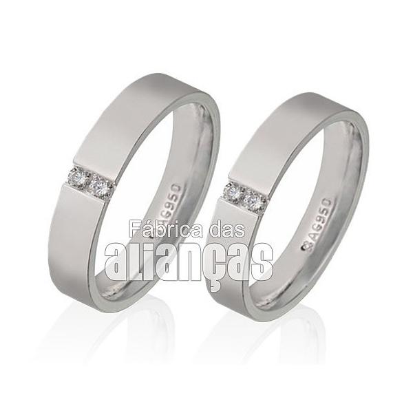 Alianças De Noivado e Casamento Em Ouro Branco 18k 0,750 Fa-315-b