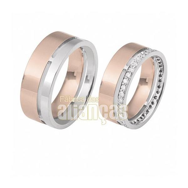 Alianças De Noivado e Casamento Em Ouro Rose 18k 0,750 Fa-316-r