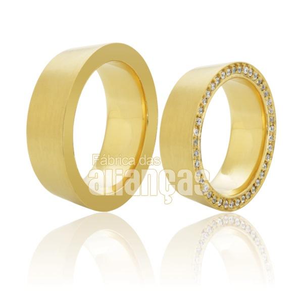 Alianças Pesadas de Ouro 18k com Diamantes