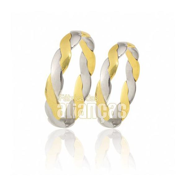 Alianças De Noivado Ouro Branco 18k Duas Cores