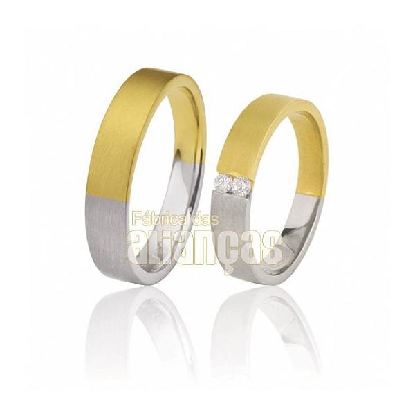 Alianças De Noivado Ouro 18k Duas Cores Com Diamantes