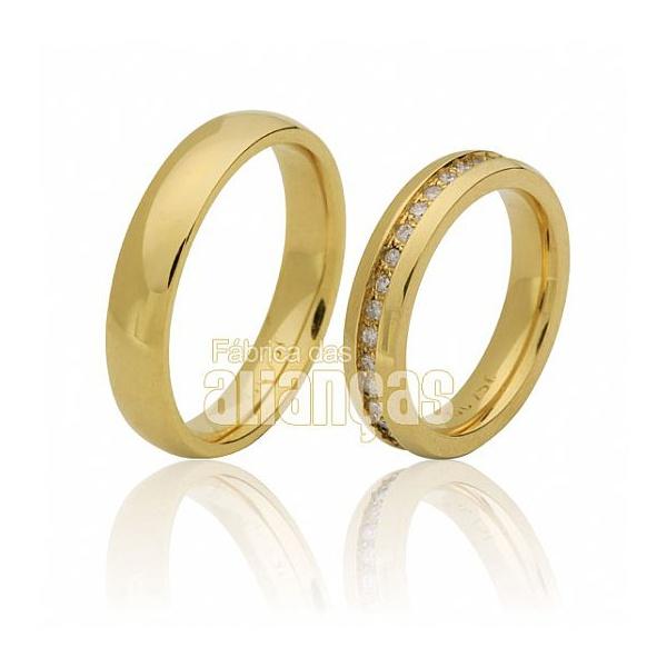 Alianças De Casamento Ouro 18k Com Diamantes