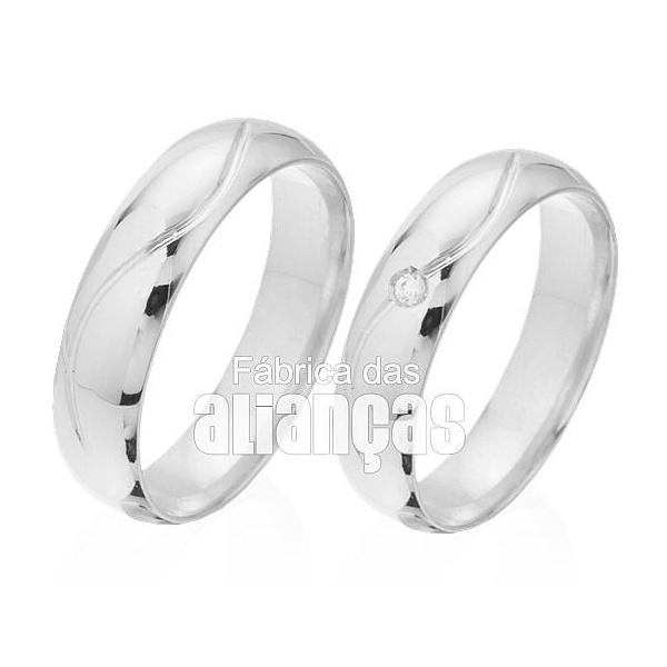 Alianças De Casamento Ouro 18k Branco Com Diamantes