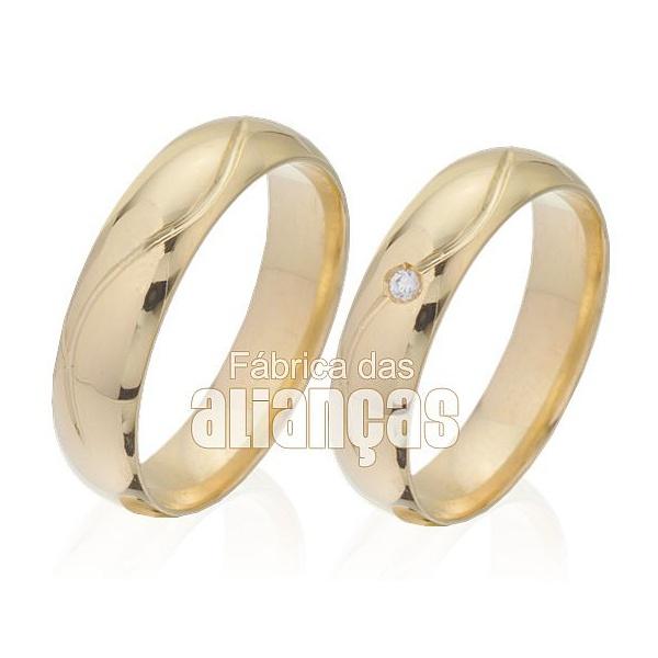 Alianças De Noivado e Casamento Em Ouro Amarelo 18k 0,750 Fa-348