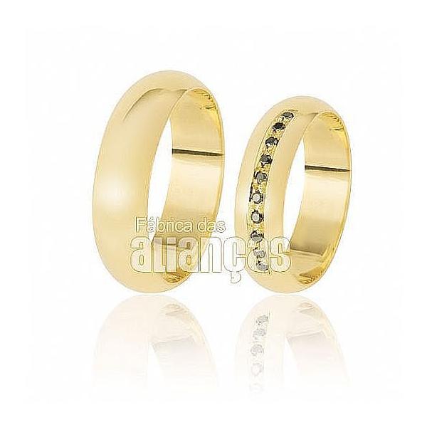 Alianças De Noivado De Ouro 18k Com Diamantes Black