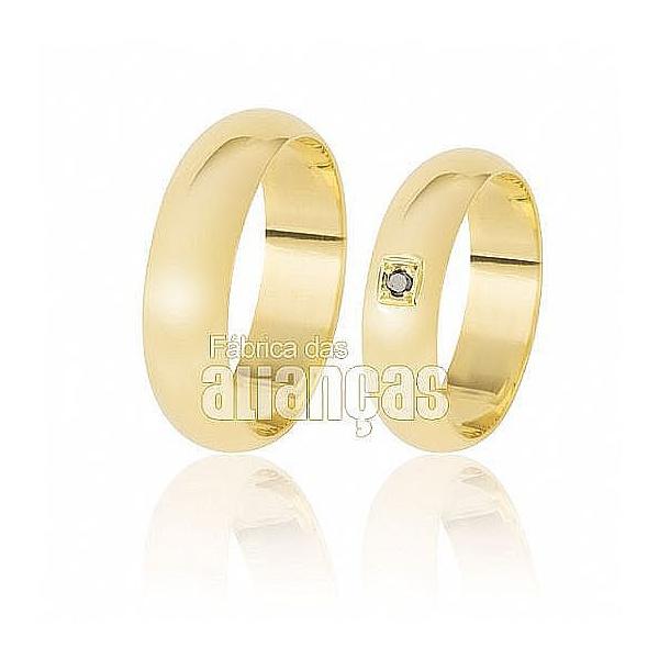 Alianças De Casamento Ouro Amarelo 18k Com Diamantes