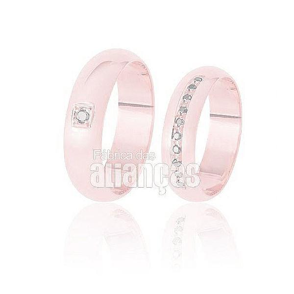 Alianças De Noivado Ouro Rose 18k Com Diamantes
