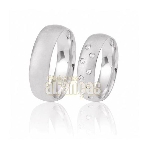 Alianças De Noivado Ouro Branco 18k Com Diamantes