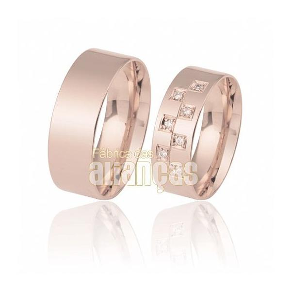 Aliança De Noivado Ouro Rose 18k Com Diamantes