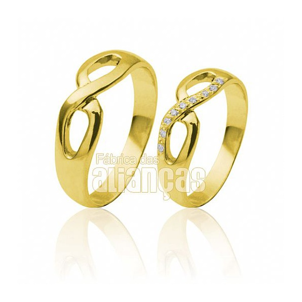 Alianças De Noivado De Ouro 18k Infinito Com Diamantes