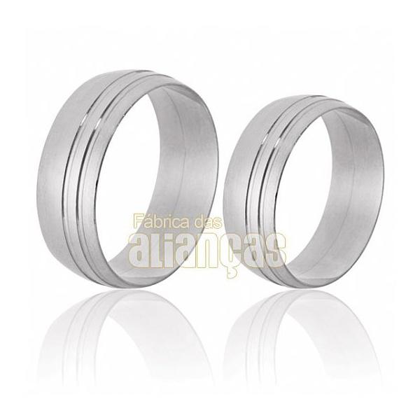 Alianças De Noivado e Casamento Em Ouro Branco 18k 0,750 Fa-37-b