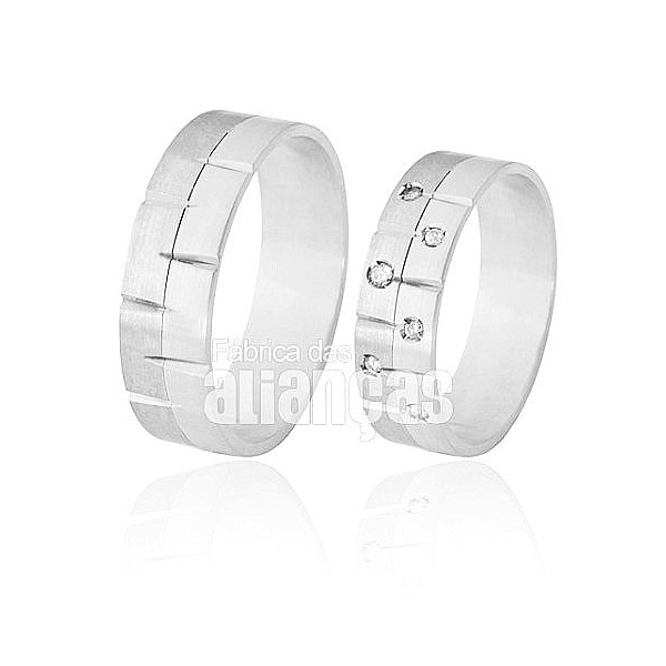 Aliança De Noivado e Casamento Em Ouro Branco 18k 0,750 Fa-370-b