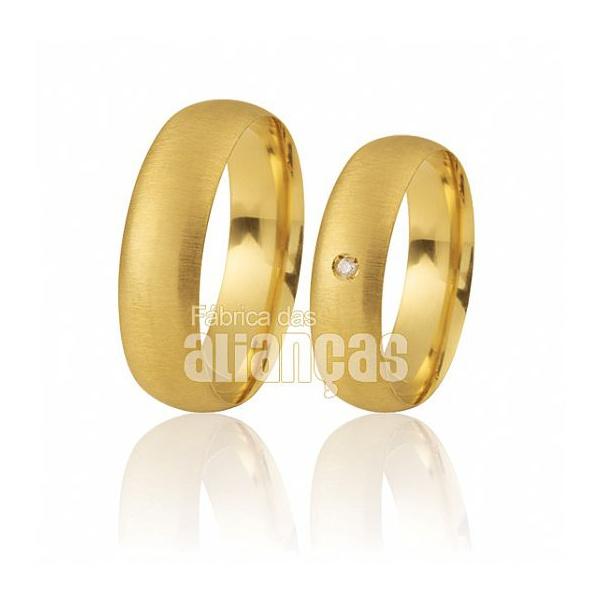 Alianças De Noivado e Casamento Em Ouro Amarelo 18k 0,750 Fa-372
