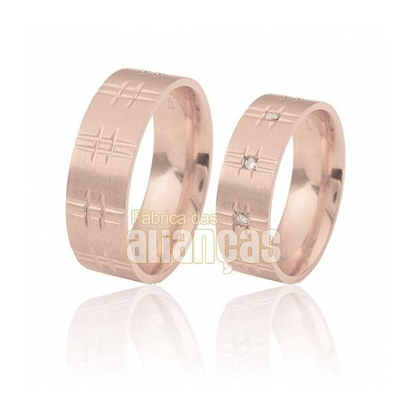 Aliança De Noivado e Casamento Em Ouro Rose 18k 0,750 Fa-374-r