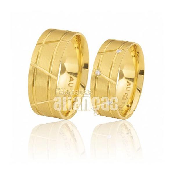 Alianças De Noivado e Casamento Em Ouro Amarelo 18k 0,750 Fa-376