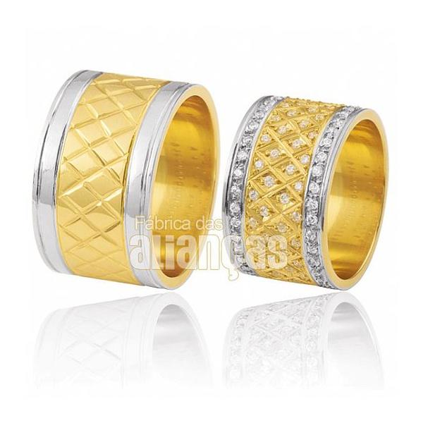 Alianças De Noivado e Casamento Em Ouro Amarelo 18k 0,750 Fa-377