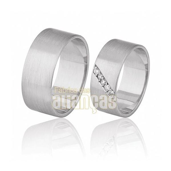 Aliança De Noivado e Casamento Em Ouro Branco 18k 0,750 Fa-378-b-15