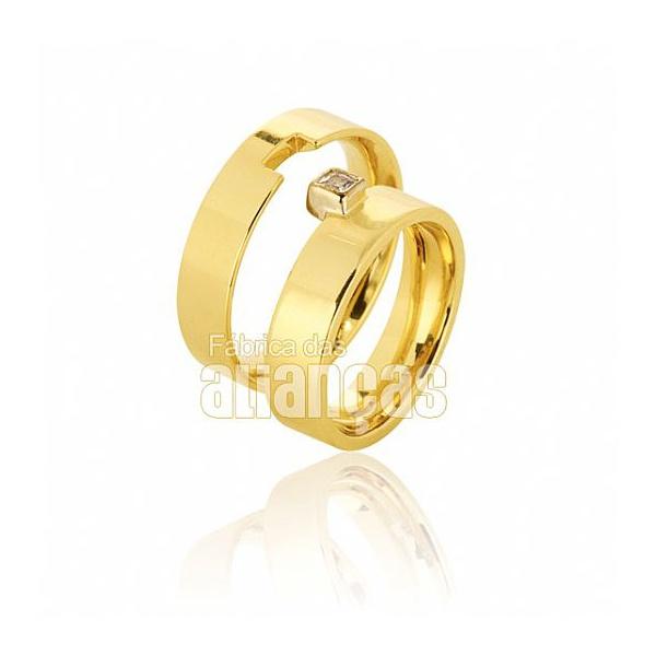 Alianças De Noivado e Casamento Em Ouro Amarelo 18k 0,750 Fa-382