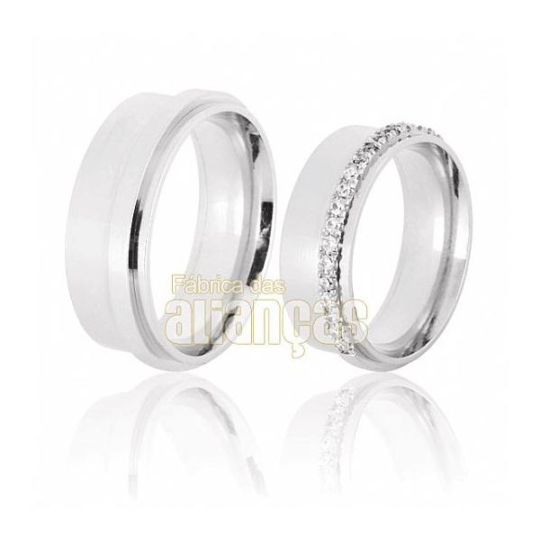 Aliança De Noivado e Casamento Em Ouro Branco 18k 0,750 Fa-385-b