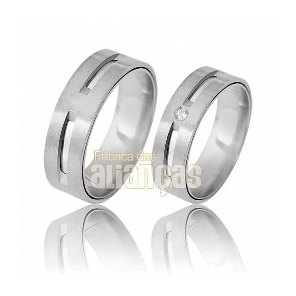 Aliança De Noivado e Casamento Em Ouro Branco 18k 0,750 Fa-391-b