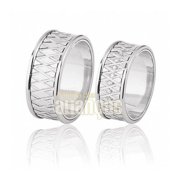 Aliança De Noivado e Casamento Em Ouro Branco 18k 0,750 Fa-394-b