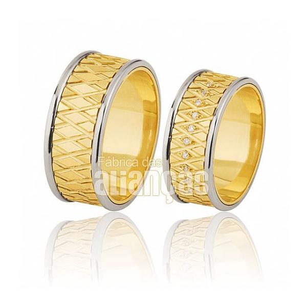 Alianças De Noivado e Casamento Em Ouro Amarelo 18k 0,750 Fa-394