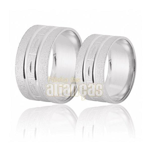 Aliança De Noivado e Casamento Em Ouro Branco 18k 0,750 Fa-395-b