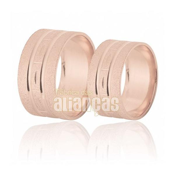 Aliança De Noivado e Casamento Em Ouro Rose 18k 0,750 Fa-395-r - FA-395-R - Fábrica das Alianças