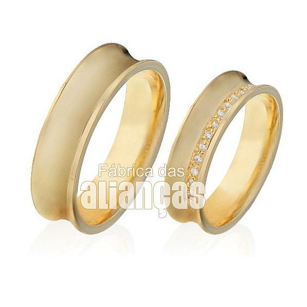 Alianças De Noivado e Casamento Em Ouro Amarelo 18k 0,750 Fa-407