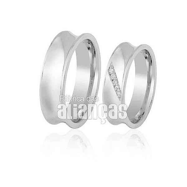 Alianças De Noivado e Casamento Em Ouro Branco 18k 0,750 Fa-408-b