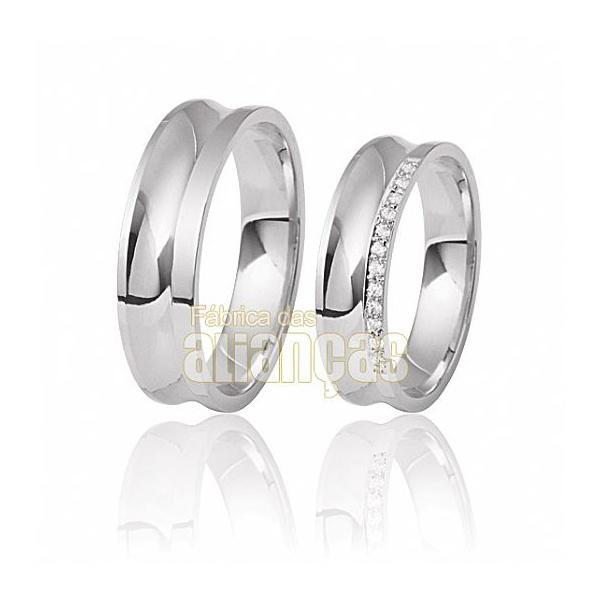 Alianças De Noivado e Casamento Em Ouro Branco 18k 0,750 Fa-410-b