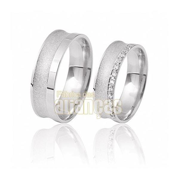 Alianças De Noivado e Casamento Em Ouro Branco 18k 0,750 Fa-411-b - FA-411-B - Fábrica das Alianças