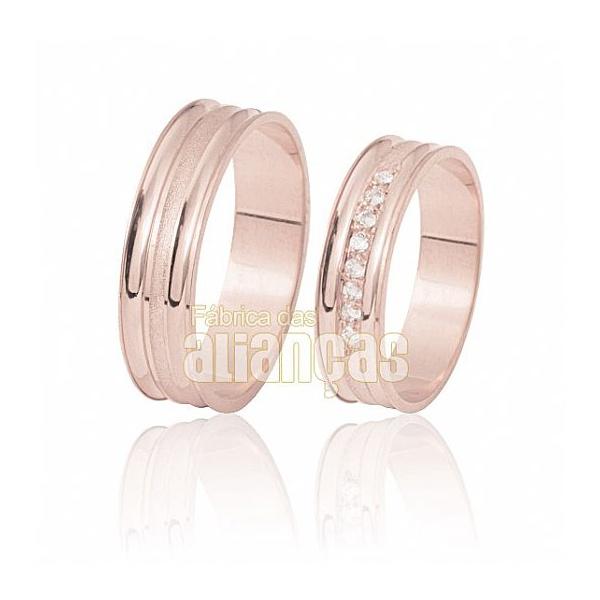 Alianças De Noivado e Casamento Em Ouro Rose 18k 0,750 Fa-412-r