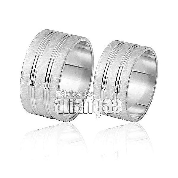 Alianças De Noivado e Casamento Em Ouro Branco 18k 0,750 Fa-413-b