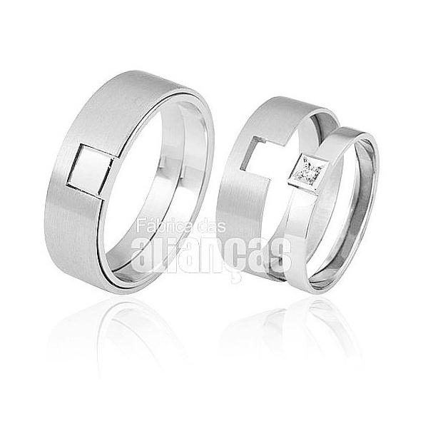 Alianças De Noivado e Casamento Em Ouro Branco 18k 0,750 Fa-425-b