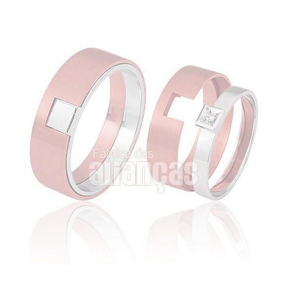 Alianças De Noivado e Casamento Em Ouro Rose e Branco 18k 0,750 Fa-425-r