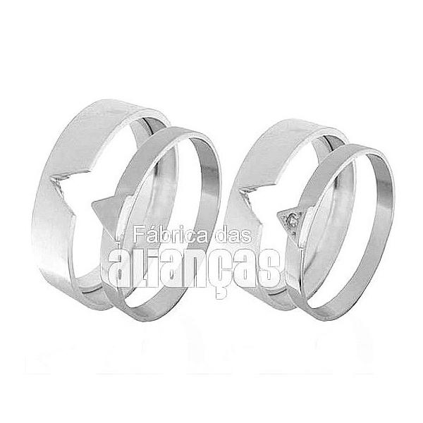 Alianças De Noivado e Casamento Em Ouro Branco 18k 0,750 Fa-426-b